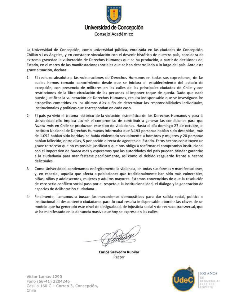 DECLARACIÓN PÚBLICA - Consejo Académico Universidad de Concepción
